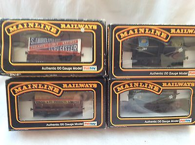 00 GAUGE MAINLINE JOB LOT OF 3x TANKERS & 7 PLANK WAGON  - ALL BOXED