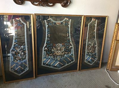 Antique Chinese ?  Embroidered Silk Robe vest 3 Framed Panels