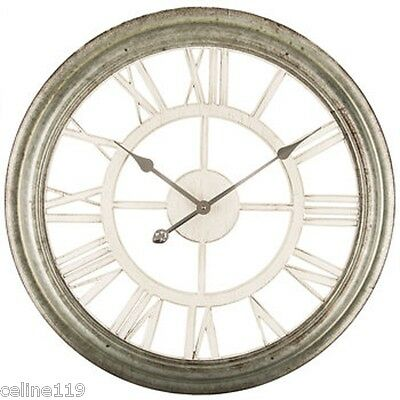 "26"" Large SHABBY VINTAGE CHIC INDUSTRIAL GALVANIZED METAL Cottage Wall CLOCK"