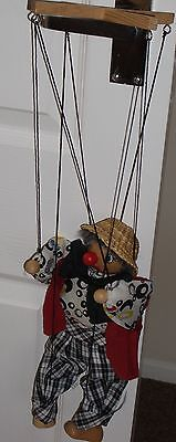 Vintage Old 1960's Grove International Clown Puppet With Straw Hat