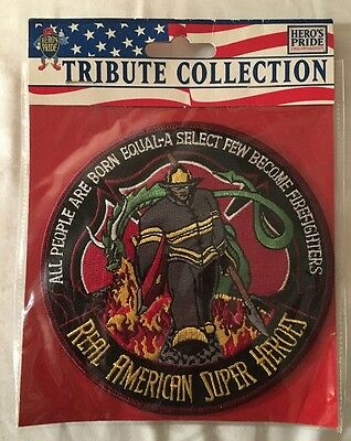 """New Firefighter Patch 4.5"""" Circle Tribute Collection Hero's Pride Real American"""