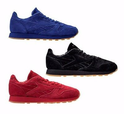 New Reebok Classic Leather Men's Athletic Shoes blue/red