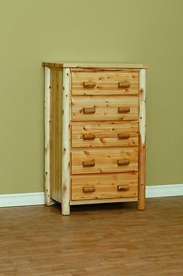 Superbe Amish Made White Cedar Log Furniture 5 Drawer Chest Hand Built **FREE  SHIPPING*