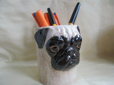 Quail Ceramics Pug Pencil Pot / Toothbrush Holder Great Gift New &boxed