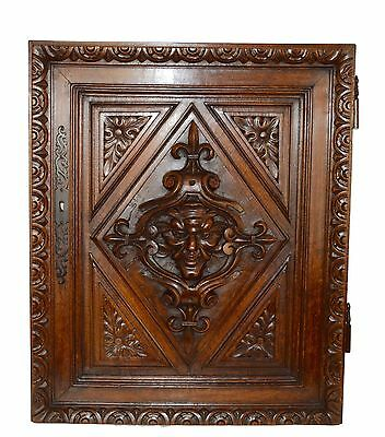 French Antique Gothic Hand Carved Walnut Wood Door Panel - Mascaron Renaissance