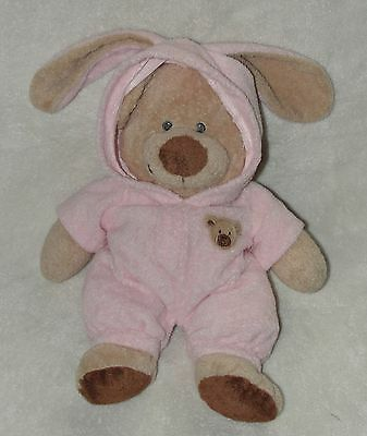"Ty Love to Baby Pluffies Bear Pink Bunny Ear Pajamas Non Removable Pjs 12"" 2007"