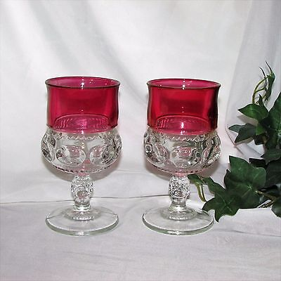 Indiana Glass Kings Crown Ruby Flash Goblets Vintage Wine Glasses 2 Thumbprint