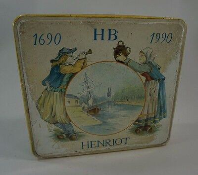 Vintage Metal Tin Biscuit Tin French HB Henriot 1990 French Country Quimper