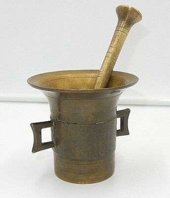 "ANTIQUE 19th CENTURY SOLID BRASS 4"" MORTAR & PESTLE #4"