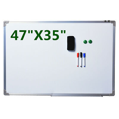 "NEW Single Side Magnetic Writing White Board 47""x35"" Office School Dry Erase"