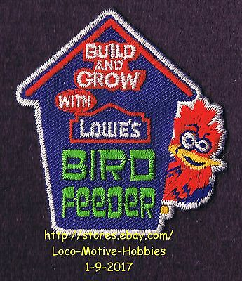 LMH PATCH Badge 2008 BIRD FEEDER Squirrel Birds LOWES Build Grow Clinic Workshop