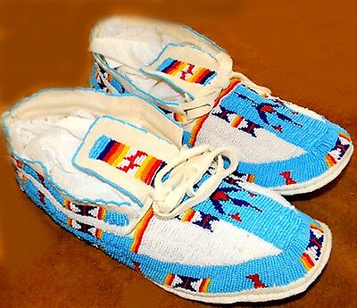 "Vintage Antique 11.75"" Native American Sioux  Arapahoe Indian Beaded Moccasins"