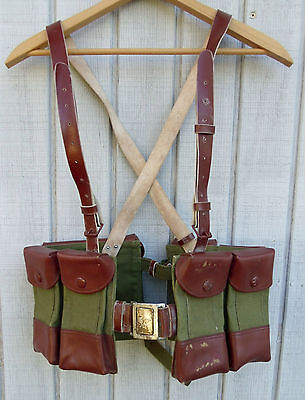 Vietnam Era 1970s Chinese Military Ammo Belt Pouch Charge Satchel Leather Canvas
