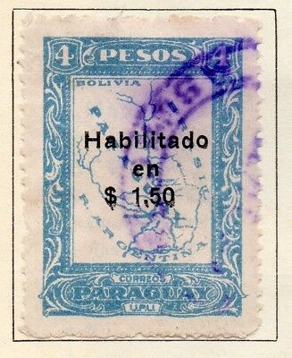 Paraguay 1926-27 Early Issue Fine Used $1.50. Surcharged 125239