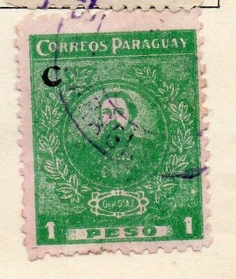 Paraguay 1924 Early Issue Fine Used 1P. Optd 125279