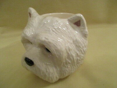 Lovely Westie Dog  Egg Cup In  Ceramic By Quail Pottery Boxed Ideal Gift