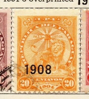 Paraguay 1904-06 Early Issue Fine Used 20c. Optd 1908 125317