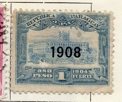 Paraguay 1904-06 Early Issue Fine Used 1P. Optd 1908 125320