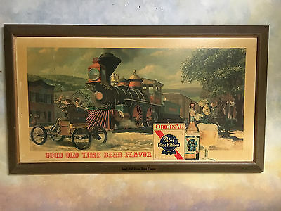 Pabst Blue Ribbon sign Vintage Hung in NorthWoods WI bar for decades 1950s train