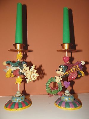 Walt Disney Minnie & Mickey Mouse Christmas candle sticks
