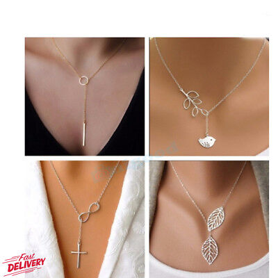 Fashion Charm Jewelry Pendant Chain Long Plated Gold Choker Statement Necklace
