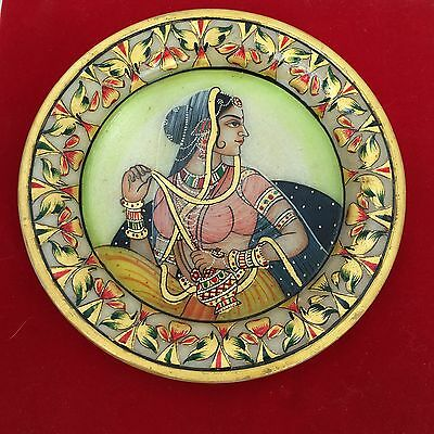 Marble Plate/Natural Stone Hand-painted Wall Art Decorative- Woman-Made in India