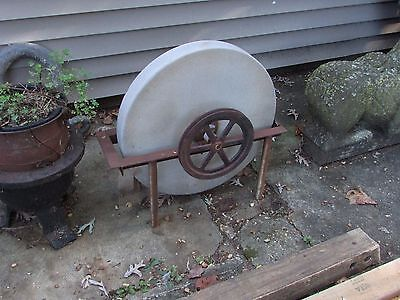 Antique Grinding Stone Wheel Industrial Iron Steampunk Garden Sculpture