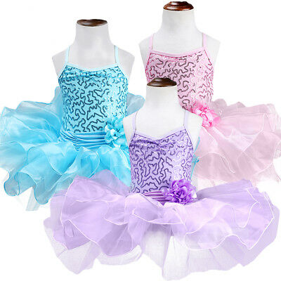 Girls Sequin Ballet Dance-wear Leotard Tutu Dress Fairy Swan Ballerina Costume