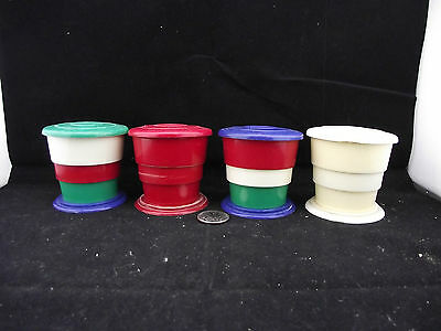 4 Vintage Fold Up Travel  Glasses With Lids Red Green White Blue Reliable Canada