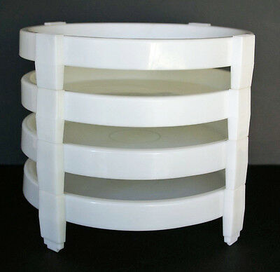 Lot of 4 Vintage Tupperware Pie Stackers Divide-A-Rack White Portable Dividers