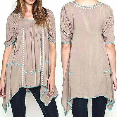 Umgee Top Size XL S M L Embroidered Tunic Free Boho People Perfect T Womens New