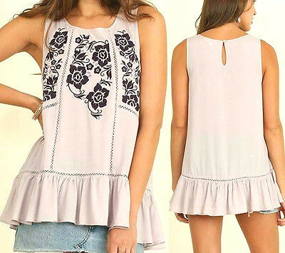 Umgee Top Size XL S M L Embroidered Lilac Tunic Free Boho People Womens New