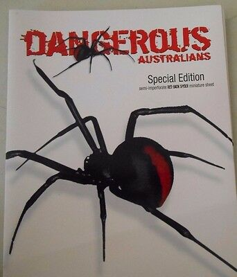 "2006 "" Dangerous Australians "" Imperf Red Back spider Minisheet pack MUH"
