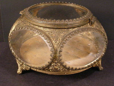"7"" ANTIQUE BEVELED GLASS ORMOLU VANITY BOX jewelry trinket footed vintage case"