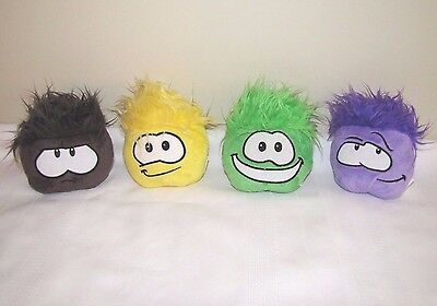 Disney Lot Of 4 Club Penguin Puffles Brown Yellow Green Purple