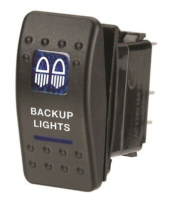 Narva Sealed Rocket Switches 12V illuminated off/on Backup Lights Symbol (Blue)