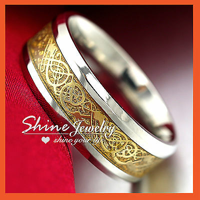 Mens Titanium 316L Steel Gold Silver Celtic 8Mm Eterinty Wedding Band Rings Gift