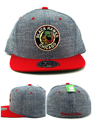 Chicago Blackhawks Mitchell & Ness NHL Vintage Chambray Blue Red Hat Cap 7 3/8