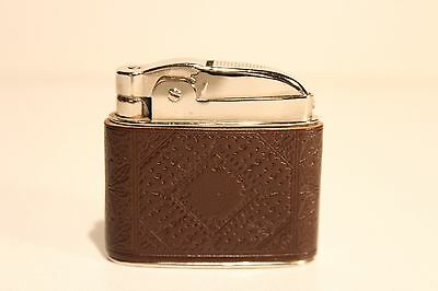 Vintage Beautiful Tin Chromed Benzin Petrol Cigar Lighter With Relief Leather