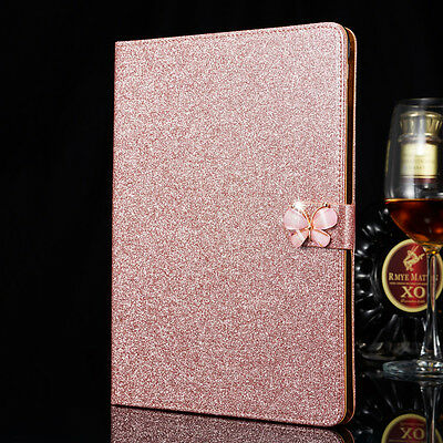 Luxury Leather Magnetic Flip Stand Bling Wallet Cover Case For Apple iPad Model