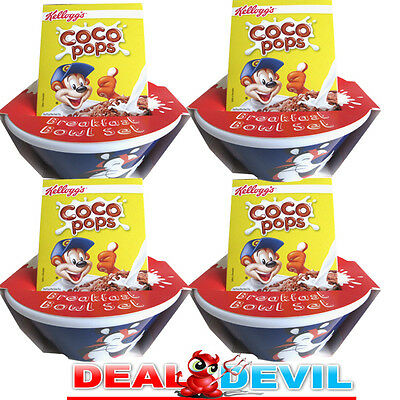 4 x Kelloggs Coco Pops Tip & Sip cereal bowls Set .New sealed Free delivery.