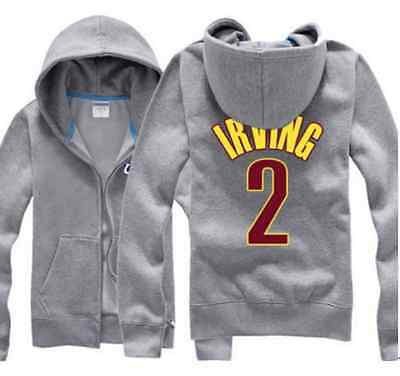 Kyrie Irving #2 Kids Boys Youth Jersey Zip Hoodie Jacket Outwear Cleveland