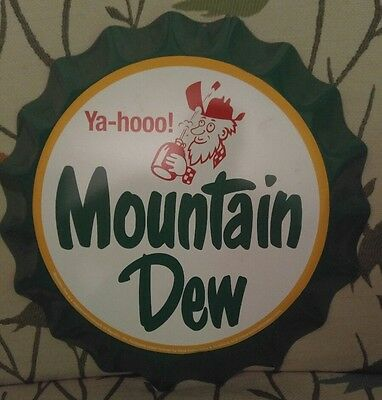 Mountain Dew Repro Bottle Cap Tin Sign Nice Vintage Styled