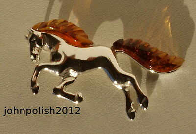 Baltic Amber Young Horse Brooch on Silver 925