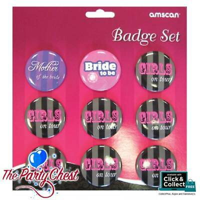 9 PCS HEN PARTY BADGE SET Girls On Tour Bride Mother of The Bride Badges 97389