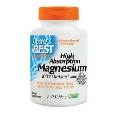 Magnesium, High Absorption, 100% Chelated, 240Tabs, Doctors Best, 24Hr dispatch