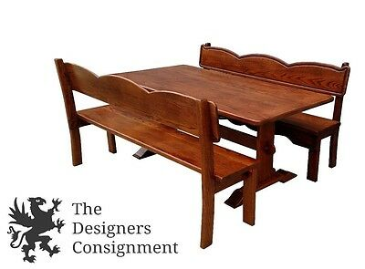 Vintage Handmade Amish Oak Trestle Dining Table With Benches Deacon Seat 72""