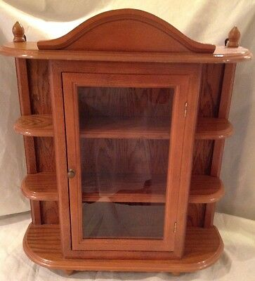 Vintage Large Wood Display Case Table / Wall Hang Glass Door Curio Cabinet Shelf