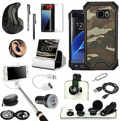 Case +Bluetooth Headset+Fish Eye+Charger+Monopod Accessory For Samsung Galaxy S7