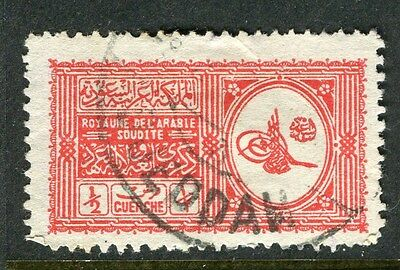 SAUDI ARABIA;  1932 early issue fine used 1/2g. value